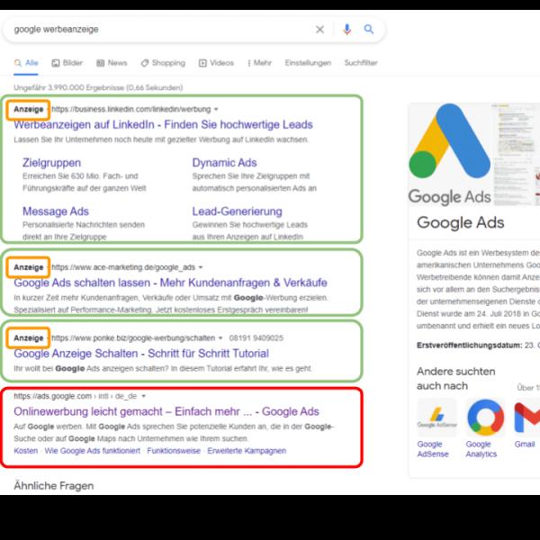 Suchmaschinenwerbung Anzeige